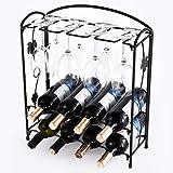 HSR Botellero con soporte para 8 botellas y 8 vasos | Botellero de metal estable con colgador de cristal | Negro