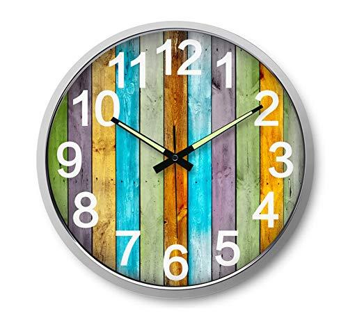 Tafel houlian winkel Muur Klok, Stille Klok Woonkamer Wandklok Creatieve Lichtgevende Digitale Art Wandklok Slaapkamer Grote Metalen Horloge #2