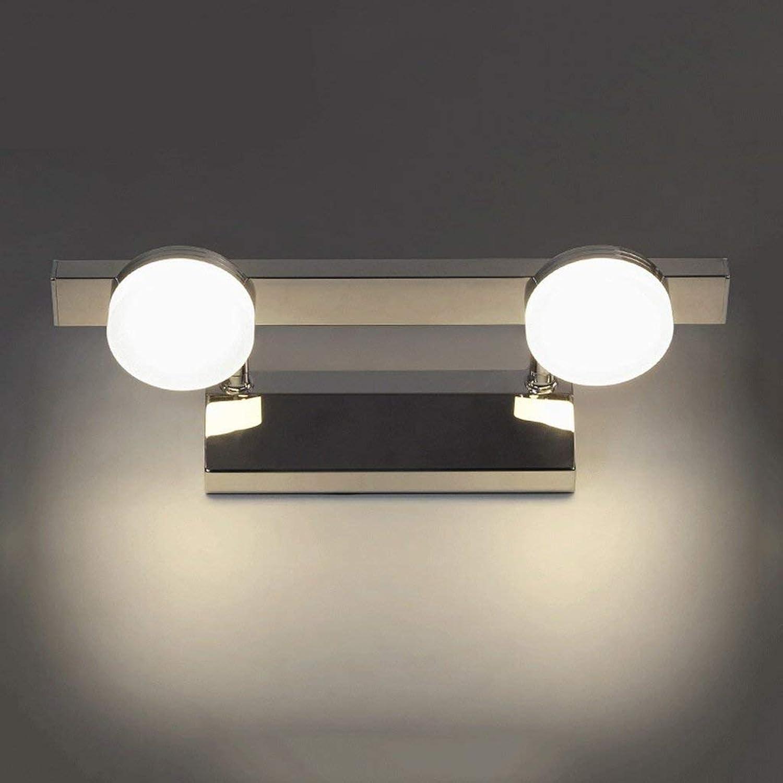 Spiegel Vorne Licht Edelstahl Acryl LED Licht Nebel Feuchtigkeit Spiegel Vorderen Scheinwerfer (Farbe  Wei-6w 32 cm).