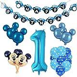 Fournitures de fête à thème Mickey et Minnie Rouge et Noir Ballons de Guirlande Minnie Joyeux Anniversaire bannière pour Anniversaire Baby Shower 1ère Fête d'anniversaire
