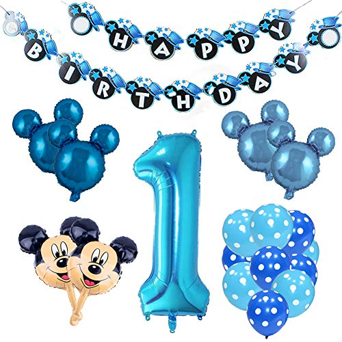 REYOK Mickey Mouse Themed Geburtstag Dekorationen, Mickey 1st Birthday schwarz rot Mickey Luftballons, Happy Birthday Banner, Folienballons für Mickey Mouse Themenparty