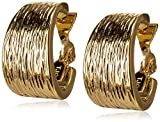 Anne Klein 'Classics' Gold-Tone Textured Hoop Clip-On Earrings