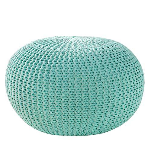 Invicta Interior Design Strick Pouf LEEDS Mint 50cm Hocker Baumwolle in Handarbeit Sitzpouf Sitzhocker Fußhocker