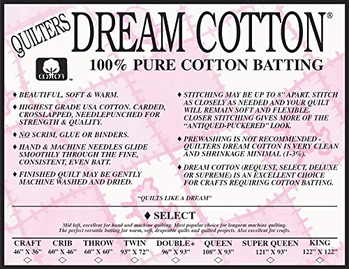 Quilter's Dream Select Heavy Mid Loft Batting for Quilting (All Sizes) (Craft, White)