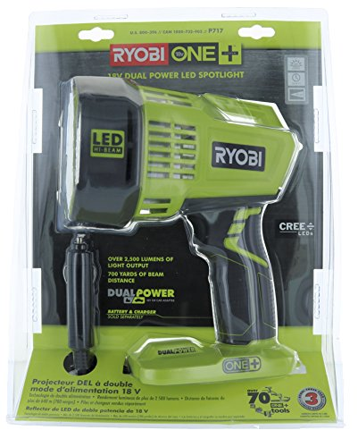 Ryobi P717 One+ 18V Dual Powered LED Cordless Spotlight w/ 2500 Lumens (Batteries Not Included, Light Only)