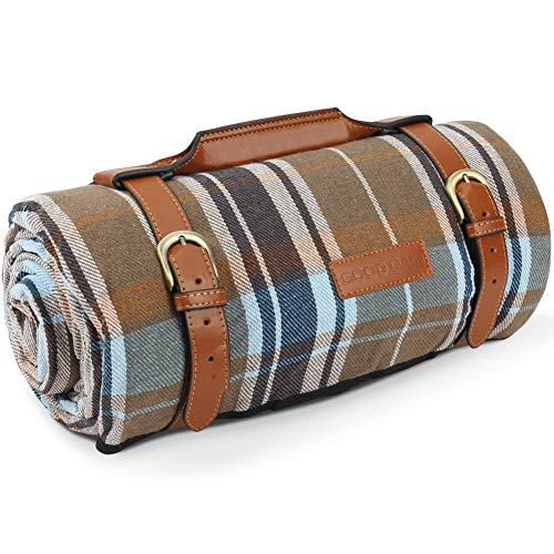 Extra große Picknickdecke, wasserdicht für Outdoor-Camping, Picknickdecke aus Acryl mit wasserdichter und sanddichter Rückseite, Faltbare Stranddecke mit luxuriösem PU-Ledertrager. 17 x 200 cm.