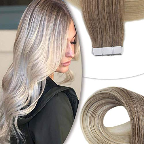 Easyouth Tape Extensions Echthaar Balayage 40g 45cm Farbe #8 Aschbraun Fading To #60 Platinblond Seamless Tape Hair Extensions Tape On Hair