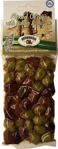 griechische gemischte Oliven in Bukovo und Oregano-Öl vakuumverpackt 150 g