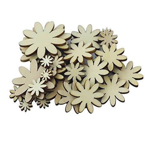 ultnice Prune Fleur de bois 50pcs boutons scrapbooking embelishment Décoration de mariage