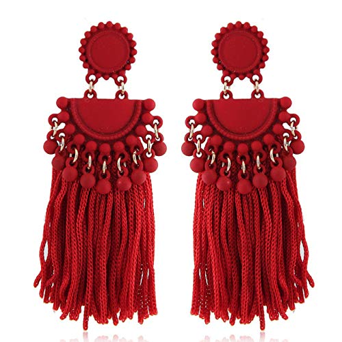 Pendientes bohemios para mujer de 7,5 cm, color rojo, con borla de aleación, con pintura en aerosol, gran largo y con borla de gota bohemia para mujer, 7.5CM, Zinc,