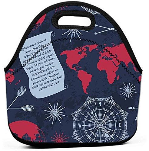 Auslaufsichere, wiederverwendbare Iso-Lunch-Tasche - Durable Compact Office Work School Brotdose Vintage Globus Kompass Weltkarte Windrose Vintage Globus Kompass Weltkarte Wind Cool