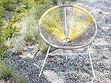 Beliani Gartenstuhl mexikanischer Stuhl beige gelb Rattanstuhl Acapulco