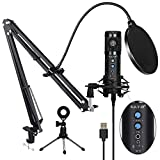 USB Condenser Microphone for Computer, Professional PC Microphone Kit with Noise Cancelling, Mute Button, Adjustable Metal Arm Stand, Great for Gaming, Podcast, LiveStreaming, Recording, Black