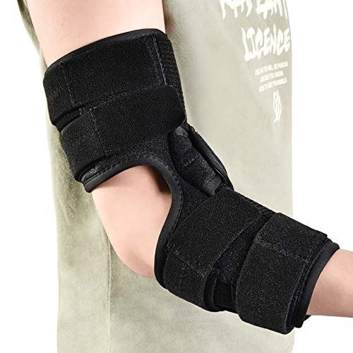 fibee Angle Adjustable Elbow Splint, Soft Elbow Brace Support Immobilizer Stabilizer for Night Sleeping or Day Tendonitis Pain Relief of Cubital Tunnel Syndrome Ulnar Nerve for Women and Men (S/M)
