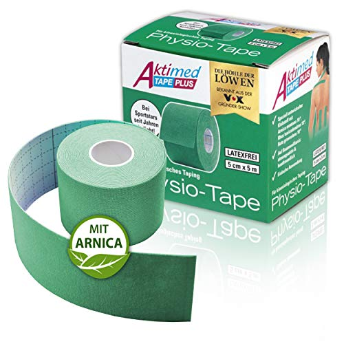 """AKTIMED Tape PLUS Kinesiologie Tape – Sporttape mit pflanzlichem Extrakt Arnica D6* – patentiertes Physiotape Dermatest """"sehr gut"""" – Kinesiologie Tapes elastisch & wasserfest (grün)"""