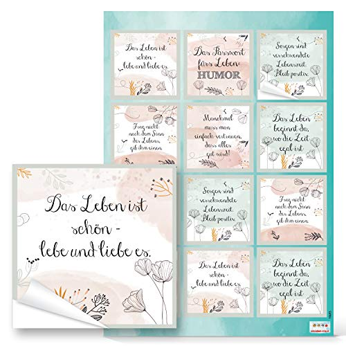 Logbuch-Verlag 12 Sprücheaufkleber pastellfarben rosa weiß mintgrün - Aufkleber mit motivierenden Sprüchen 6 x 6 cm als Geschenkaufkleber