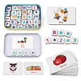 Coogam Wooden Magnetic Letters and Numbers Toys, Fridge Magnets ABC Alphabet Word Flash Cards Spelling Counting Game Learning Uppercase Lowercase Math for 3 4 5 Year Old Preschool Kid Boy Girl