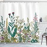 ABAKUHAUS Primavera Cortina de Baño, Arreglo de Flores Silvestres, Material Resistente al Agua Durable Estampa Digital, 175 x 240 cm, Multicolor