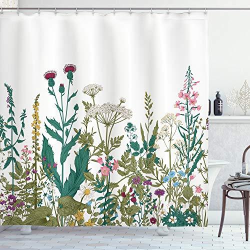 ABAKUHAUS Frühling Duschvorhang, Wildblumen-Arrangement, mit 12 Ringe Set Wasserdicht Stielvoll Modern Farbfest & Schimmel Resistent, 175x200 cm, Mehrfarbig