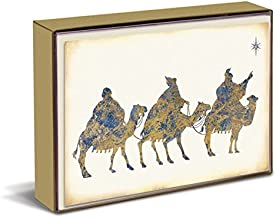 Graphique Wise Men Christmas Greeting Cards - 15 Embellished and Embossed Gold Foil Three Wise Men Holiday Cards with Matching Envelopes and Storage Box, 4.75