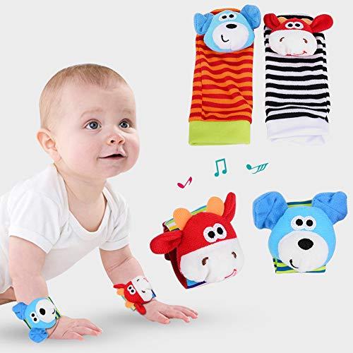 ZJchao Calcetines de Muñeca de Animales para Bebés Sonajero, Pulseras de Sonajero para Bebés, Juguetes de Sonajero para Bebés, Juguetes Educativos para Niños (Perro + Vaca)