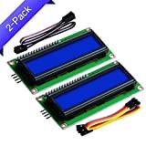 GeeekPi 2-Pack I2C 1602 Módulo de Pantalla LCD 16X2 Caracteres Serial Módulo LCD para Raspberry Pi Arduino STM32 Proyecto DIY Fabricante Nanopi BPI Tinker Board IoT Internet of Things