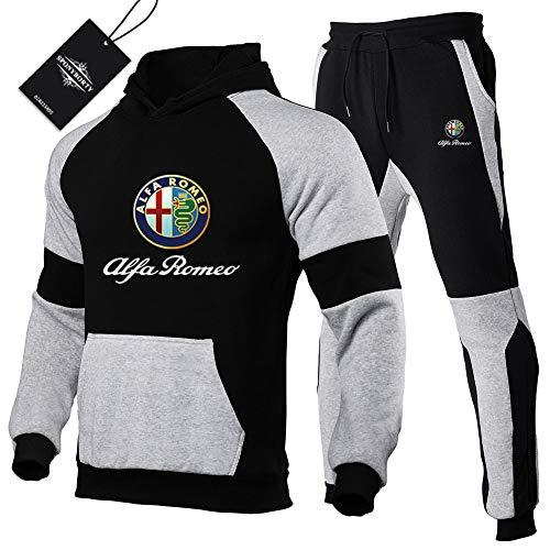 Martin Tute Sportiva Set per A-lf.a Rom.eo.s Pullover Felpa con Cappuccio e Jogging Pantaloni Uomini e Donne Z. / Schwarz/M