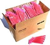 100 Box of Pink Razor Blades Disposable Stainless Steel Hospitality Quality Shavers High End Twin Blade Razors for Men and Women with Aloe Vera Lubrication Strip