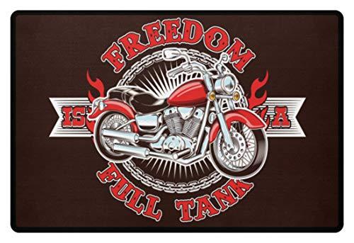 Motorrad Türmatte Für Biker Motorradfahrer Fußmatte Freedom Is A Full Tank - Fußmatte -60x40cm-Braun