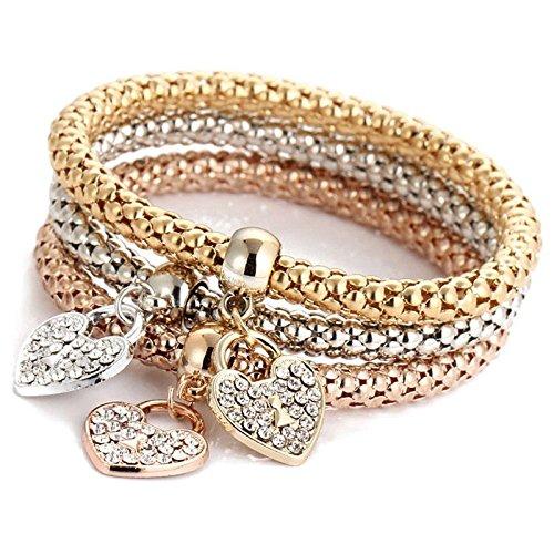 SODIAL Oro Plata Oro Rosa Diamantes de ImitacióN CorazóN Pulseras con Dijes Pulsera Mujer JoyeríA
