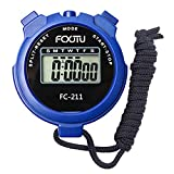 FCXJTU Digital Sports Stopwatch Timer, Single Lap Memory Stopwatch with Calendar 12/24 Hour Clock Alarm Lanyard Battery Included for Kids, Family and Sport Events
