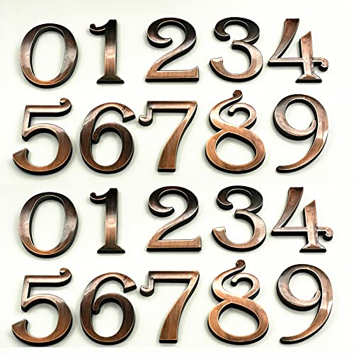 HopeWan Mailbox Numbers, Self Stick Bronze Door Numbers for Office Hotel Aprtment Home Room or Outside Business Decorative Project (2.75' - Set of 20, Bronze)