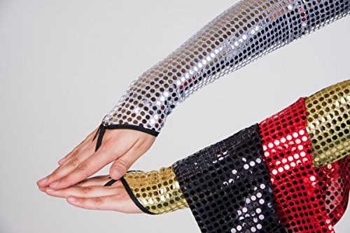 Generique - Disko-Handschuhe fingerlos mit Pailetten Silber