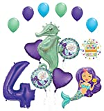 Mermaid Wishes and Seahorse 4th Birthday Party Supplies Balloon Bouquet Decorations