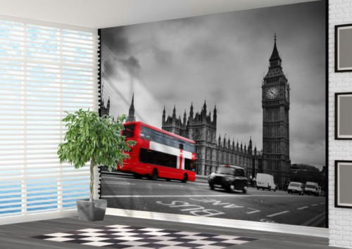 Black And White London With Red Bus Wallpaper Wall...