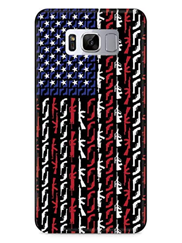 Inspired Cases - 3D Textured Galaxy S8 Case - Rubber Bumper Cover - Protective Phone Case for Samsung Galaxy S8 - American Flag in Guns - Patriotic Colors
