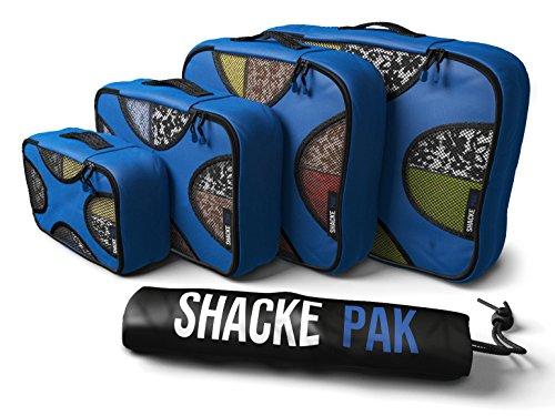 Shacke - Shacke Pak - Juego De 4 Bolsos De Embalaje - Organizadores De Viaje con Bolsa De Lavado (Azul Oscuro)