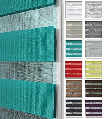 Home-Vision® Duo Rollo nach Maß, Doppelrollo ohne Bohren mit Klämmträgern, Rollos für Fenster und Türen (Türkis, B51-55cm x H150cm)
