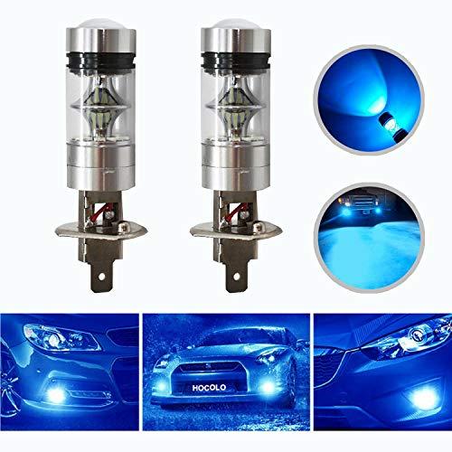 HOCOLO H1 100W Samsung Chip LED Fog Light Lamp Bulbs for DRL Fog Driving Lights 8000K Ice Blue High Power LED Bulbs Car Vehicle Lighting Accessories (Set of 2) (H1 -Ice Blue 100W -Fog / DRL)