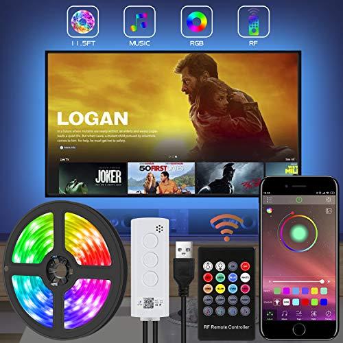 LED TV Hintergrundbeleuchtung, Lichtband mit Fernbedienung für 40-80 Zoll Fernseher,APP-Steuerung synchron zur Musik,RGB wasserdicht IP65, Verstellbare Helligkeiten für Haus, Party usw