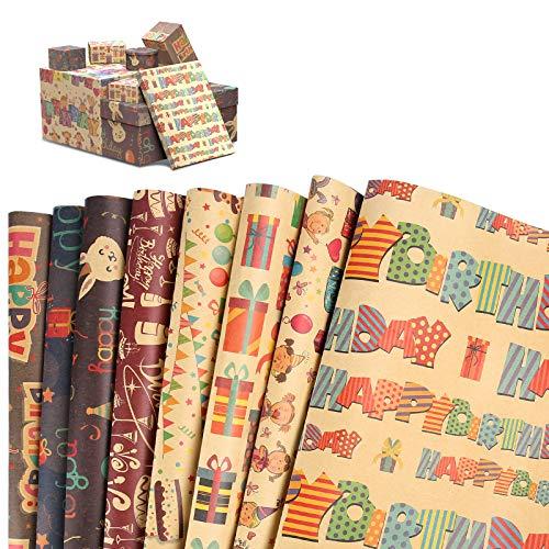 CHEPULA Geschenkpapier, 8 Stück Geschenkpapier Geburtstag, Geschenkpapier Kinder, Geschenkverpackung Papier für Weihnachten, Valentinstag, DIY, Muttertag, Kindertag (70 cm x 50 cm)