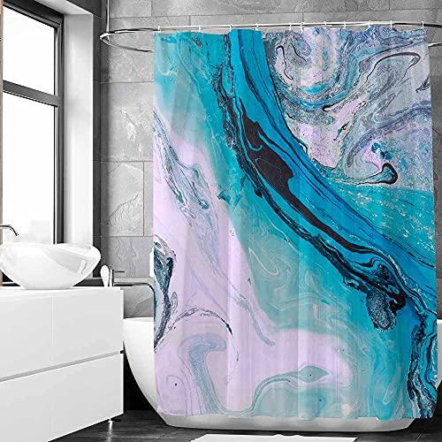 SHENGJUN Duschvorhang, 183 x 183 cm, Marmor-Ombré-Stil, für moderne Badezimmer-Dekorationen, Türkis, Aquamarin, Ästhetisch, modern, künstlerisch, dekorativ, Heimstoff, wasserdicht, mit 12 Haken