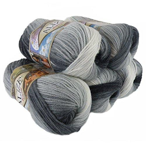 500g Strick-Garn ALIZE BURCUM Batik Strick-Wolle Handstrickgarn, Farbe wählbar, Farbe:1900 Grautöne