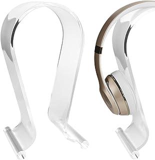 Soporte para auriculares Omega de acrílico, soporte para pantalla de escritorio, para Audio-Technica, Bose QC3, QC25, QC2, QC15, AE2, AKG, Sennheiser, Monster Beats Studio Solo, Logitech DJ, auricular profesional para juegos y muchos auriculares