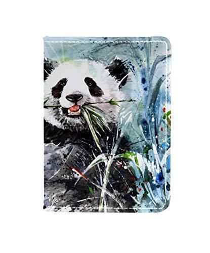 TIZORAX Panda Schilderij Paspoort Houder Travel Portemonnee Lederen Kaartenhoes Hoes