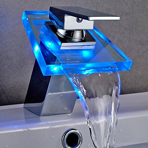 Bakaji Rubinetto Lavandino Lavabo Bagno con Luce LED RGB Temperatura Acqua Getto a Cascata Miscelatore Monocomando in Ottone Cromato e Ugello in Vetro Dimensione 210 x 114 mm