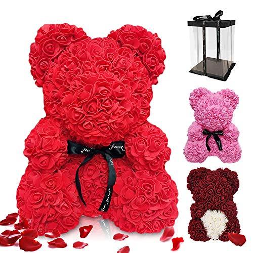 Regalo de Oso Rosa, ASANMU Oso de Flores Artificiales Oso de Peluche Rosa Creativo con Caja Oso Rosa Foam 25cm Regalos para San Valentín/Cumpleaños/Aniversario Regalo para Mamá/Madres/Mujer (Rojo)