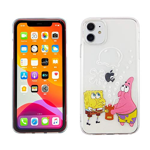 iPhone 11 6.1 Inch TPU Case CASEVEREST 3D Print Design Slim Fit Cover Spongebob Squarepants and Patrick IP 11