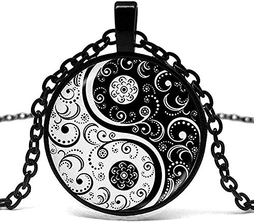 ZPPYMXGZ Co.,ltd Collar Hombres Collar Yin Yang Collar Tai Chi Forma de Vidrio Blanco y Negro Domo P O Colgante taoísmo Chino Logo Viejo chisme.
