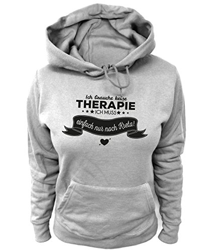Artdiktat Damen Hoodie - Ich Brauche Keine Therapie - Ich muss einfach nur nach Kreta Größe XL, grau